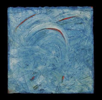 """Red Comma on Blue"" by Carol Steen, 2004"