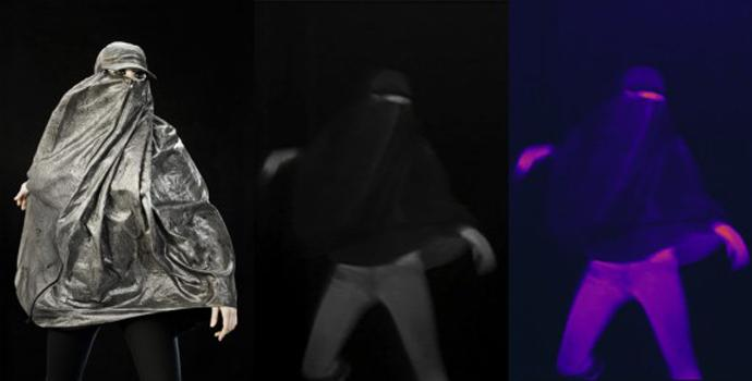 Artist Adam Harvey's 'Anti-Drone' burqa, also shown in infrared imaging.