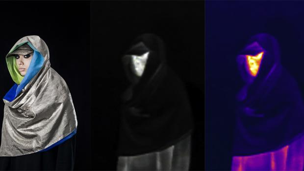 Infrared image of a model wearing Adam Harvey's 'Anti-Drone' scarf.
