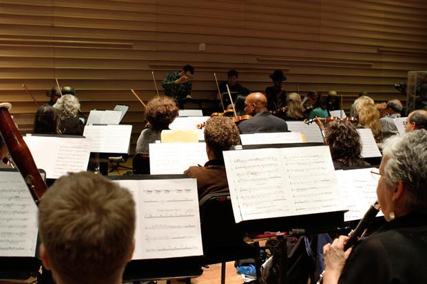 The Brooklyn Philharmonic, rehearsing at the DiMenna Center in Manhattan.