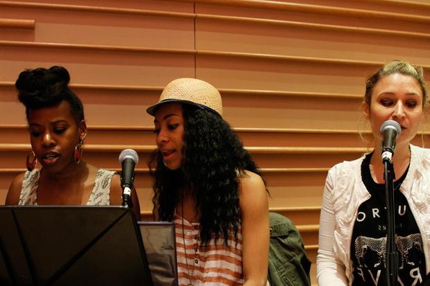Singers from the Brooklyn Phil ensemble, rehearsing Erykah Badu's music.