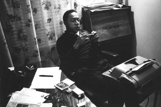 Alex Haley at typewriter