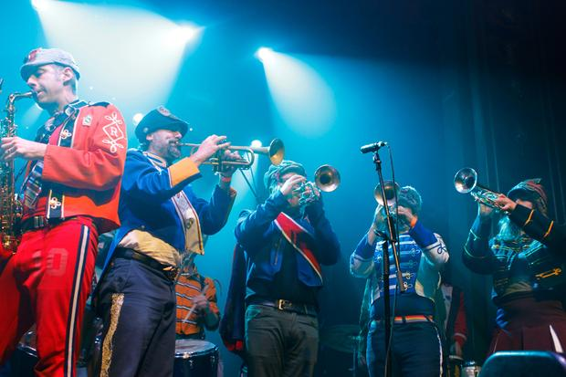 Mucca Pazza performs during globalFEST 2013 at Webster Hall.