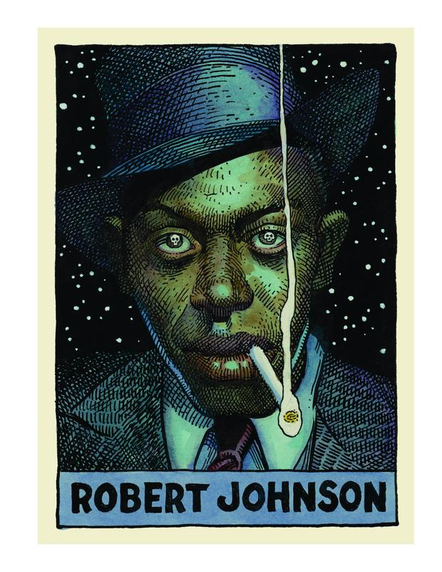 Blind Willie Johnson, as depicted by William Stout in 'Legends of the Blues'