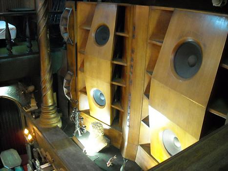 The Lion's 12-foot wooden speakers play classical music on LP's so old you can hear their pops and scratches. (And yes, that's a bust of Beethoven.)