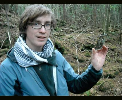 Tom O'Brian shows a find in the Aokigahara forest: a mix tape.