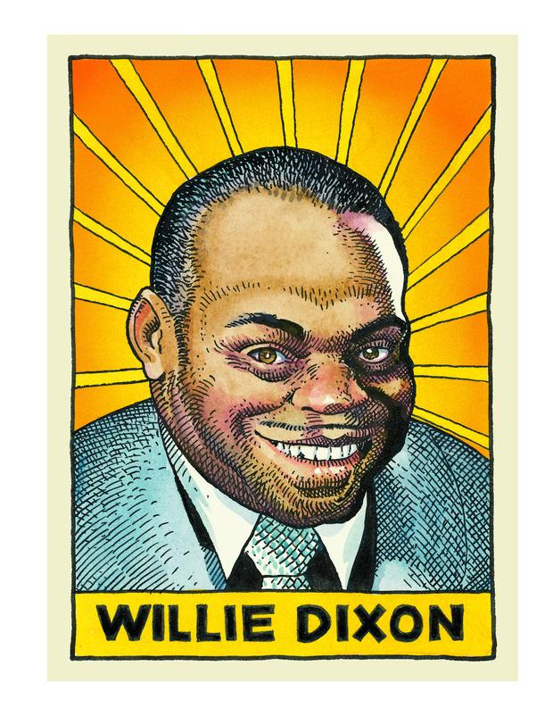 Willie Dixon, as depicted by William Stout in 'Legends of the Blues'