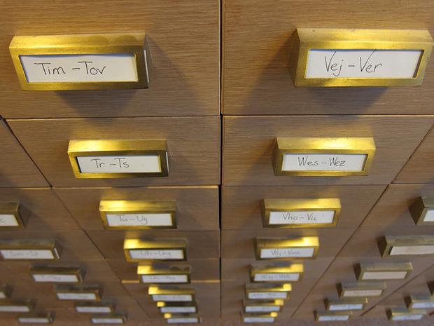 Card catalogues in Stockholm, Sweden.