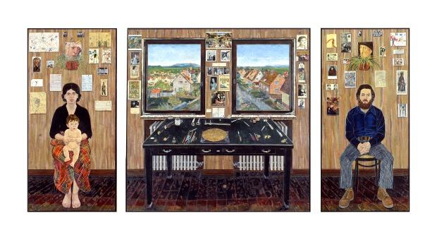 Simon Dinnerstein: The Fulbright Triptych, 1971-74, oil on wood panels