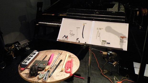 tools, plug cord, small wood table