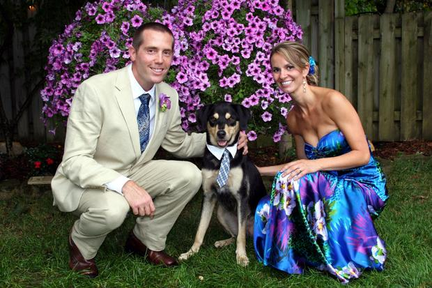 We got married in our backyard this year! This was our first house. We wanted to wear whatever we wanted and and to have our dog in the ceremony!