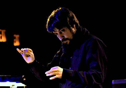 Composer and conductor Filippo Perocco conducting L'arsenale