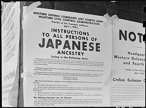 Executive Order 9066, signed by President Franklin D. Roosevelt in February 1942, paved for the way for the relocation of Japanese Americans to internment camps. Signs, like this one in San Jose, were