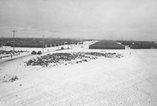 Winter time panorama view, Minidoka Relocation Camp, December 9, 1942.
