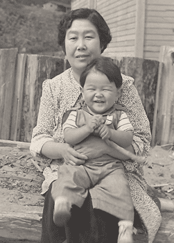 Roger Shimomura and his grandmother, Toku Shimomura. A Japanese immigrant, she kept a diary for 56 years; the entries provided inspiration for some of Shimomura's artwork.