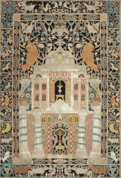 This Mizrah by Israel Doy Rosenbaum is example of paper cutting from the Ukraine. The motifs are similar to the previous image.