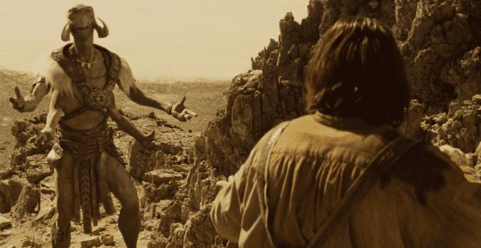 With CGI, Dafoe is transformed into the nine-foot Martian warrior Tars Tarkas