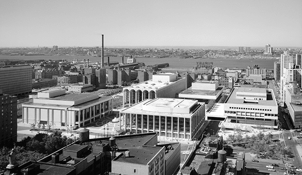 A 1969 view of Lincoln Center for the Performing Arts: at right, you can see how Broadway passes in front of the old Alice Tully Hall, slicing a triangle shape into the front of the block.