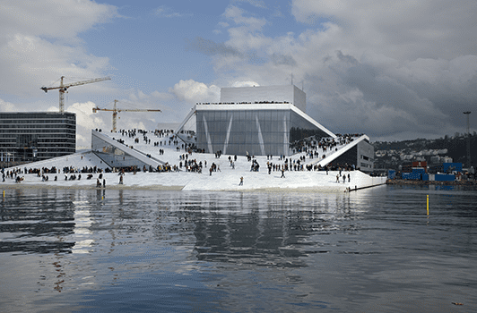 Built at a cost of almost a billion dollars, Norway's Oslo Opera House (completed in 2008) has an unconventional exterior, with a rooftop promenade has become a popular walk for Oslo residents.