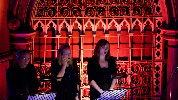 Jesus' Blood at Union Chapel, Islington, London 2009: Singers (John Potter and Gavin's daughters Ziella and Orlanda)