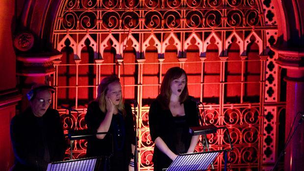 Jesus' Blood at Union Chapel, Islington, London 2009: Singers (John Potter and Gavin's daughters Ziella and Orlanda)
