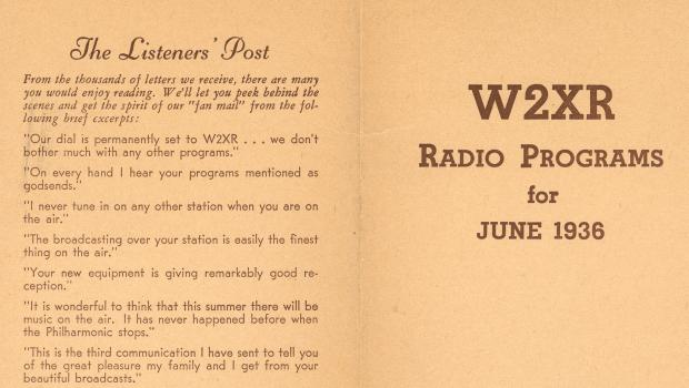 In June 1936, WQXR began producing a monthly program guide, sold over the air for 10 cents a copy.