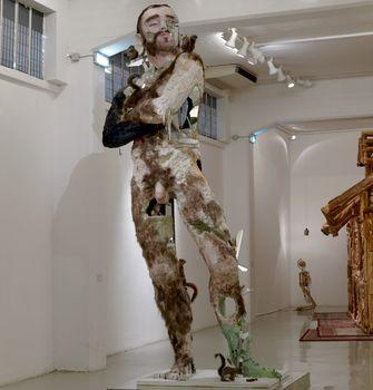 The Giant, 2006. Foam, resin, paint, fake hair, wood, glass, decorative acorns, taxidermy of three fox squirrels, and taxidermy of four grey squirrels, The Dakis Joannou Collection, Athens