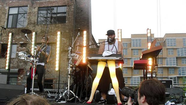 Chromeo perform at Williamsburg Waterfront's faux pool party on August 22.