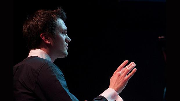 Daniel Bjarnason conducted a 20 piece orchestra at Le Poisson Rouge in the Village on March 3.