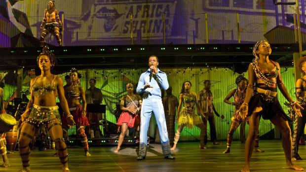 Sahr Ngaujah as Fela Kuti and the Broadway cast of FELA!