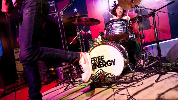 Paul Sprangers' foot and Free Energy drummer Nicholas Shuminsky