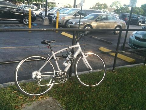 I go everywhere, including school and work, on my bike in south Miami, riding about a 100 miles a week.