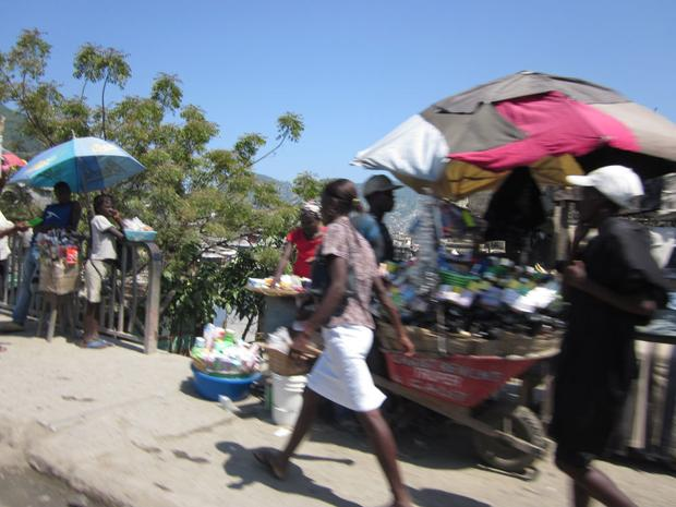 The view from the car, crossing the bridge into Cap Haitien.