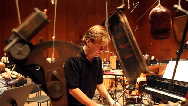 Magnus Lindberg at a rehearsal on October 7, before the New York premier of Kraft