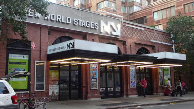 New World Stages, an Off Broadway theatre on 50 Street that's sharing its stage with other companies to save money.