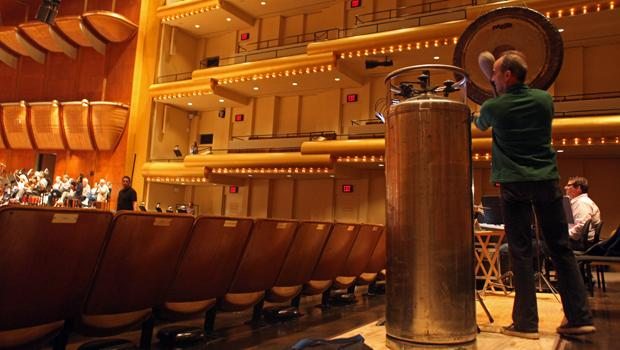 An oxygen tank from a salvage yard on Staten Island, in the middle of Avery Fisher Hall