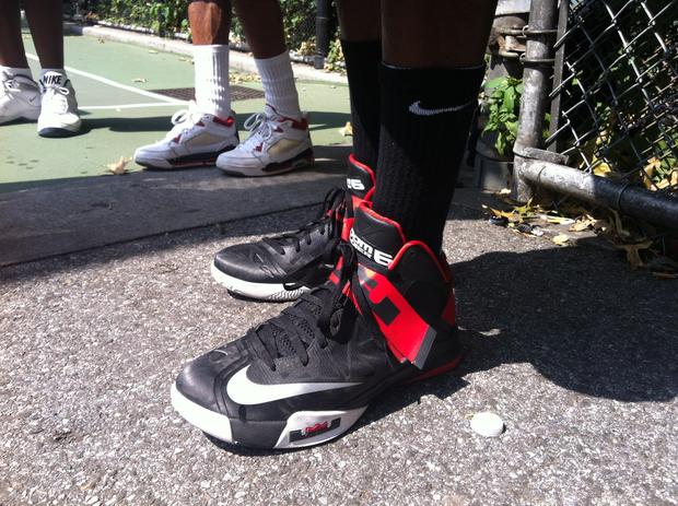 25 year old Brooklyn resident Steven Craig in his size 13 LeBron Olympic Postseason 9s.