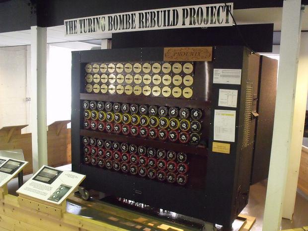 Recreation of the Bombe (a code-breaking machine) on display in Block B at Bletchley Park National Codes Centre