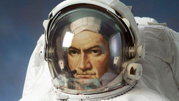 Not to be contained, Beethoven makes a trip into outer space. That's NASA finding its way in the 90s with celebrity spacemen.