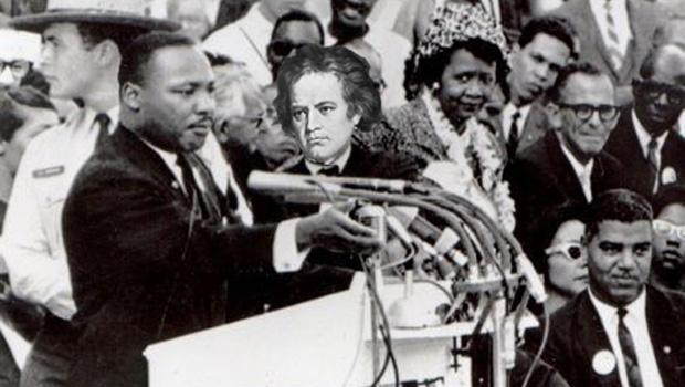 Beethoven attends a very important speech by Martin Luther King, Jr.