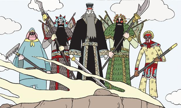 Detail of a panel from 'Boxers   Saints' by Gene Luen Yang