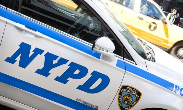 A NYPD cruiser parked at the corner of Murray and Church streets in lower Manhattan.
