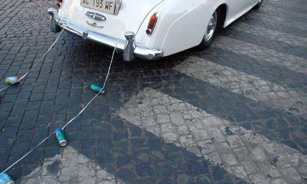wedding cans car road marriage