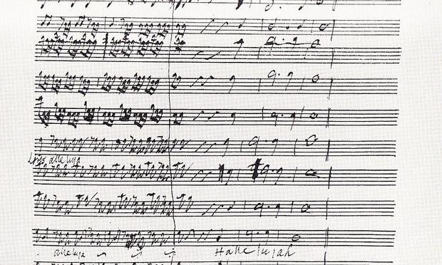 The final bars of the 'Hallelujah' chorus, from Handel's manuscript.