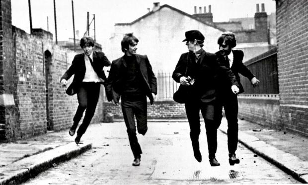 A still from A Hard Day's Night, originally released in 1964.