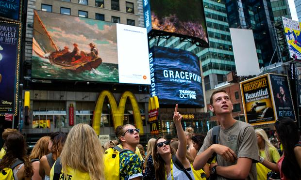 An 'Art Everywhere' billboard in Times Square