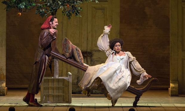Peter Mattei as Figaro and Pretty Yende as Rosina in 'Il Barbiere di Siviglia.'