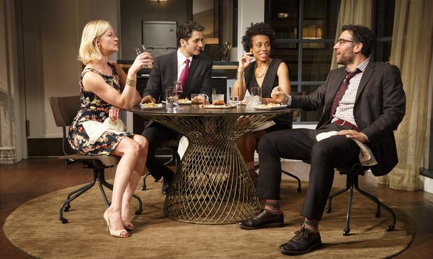 Gretchen Mol, Hari Dhillon, Karen Pittman and Josh Radnor in 'Disgraced' at the Lyceum Theatre.