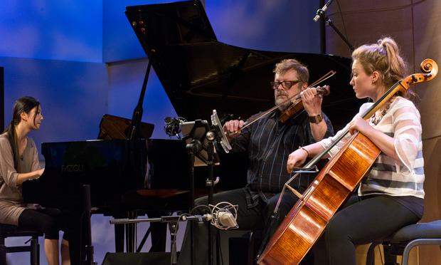 Vicky Chow (left), Todd Reynolds, and Amanda Bathgate perform Dennehy's 'Bulb.'