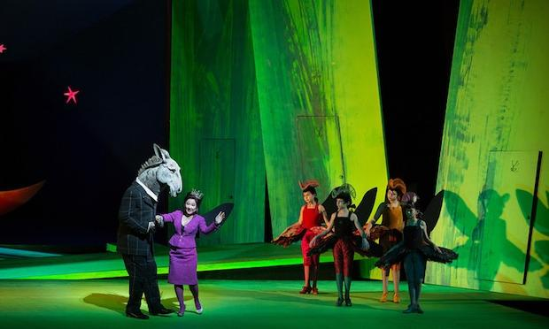 A scene from Britten's 'A Midsummer Night's Dream' with Matthew Rose as Bottom and Kathleen Kim as Tytania